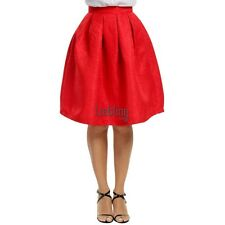 Women Fashion High Waisted Floral Knee Length Pleated Party Skirt LEBB