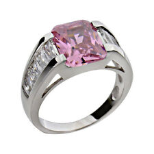 Sterling Silver Emerald Cut Pink CZ Women Jewelry Wedding Engagement Ring