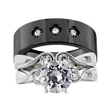 His and Hers Wedding Rings 3 pcs Engagement CZ Sterling Silver Titanium Set FJ