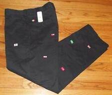 NWT Mens Brooks Brothers Navy Blue Khakis Clark FLAGS WORLD Embroidered $128 *E8