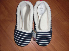 BNWT JOULES LADIES DREAMA NAVY STRIPED FLEECE LINED SLIPPERS SIZE S 3-4.