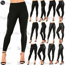 Ladies Womens PVC Wet Look Contrast Lace Side Panel Stretchy Jegging Leggings