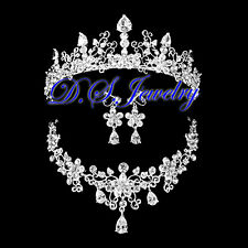 CZ & Crystal Rhinestones Carved Lacy Neklace & Earring Clip On & Crown / Tiara