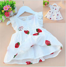 Baby Kids Girl Vest Flower Printed Skirt Sleeveless Embroidery Mini Dress 0-3YLA