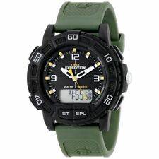 Timex T499679J Mens Black Dial Dual Quartz Watch with Resin Strap
