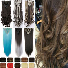 New AU Clip in Hair Extensions Full Head Real 8Piece Straight Curly As Human Tnp