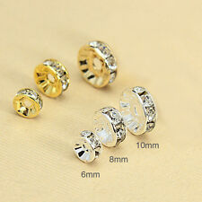 100pcs Wholesale Silver/Gold Plated Crystal Rondelle Spacer Beads 6mm/8mm/10mm
