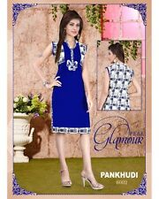 Blue Printed Kurta Indian Ethnic Kurti Top Tunic Casual Women Designer New Dress