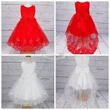 Flower Girls Princess Lace Tailling Dress Pageant Bridesmaid Wedding Party Gown