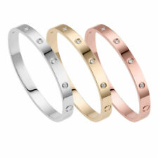 Fashion Women's Gold-plated Stainless Steel Cuff Bangle Jewelry Crystal Bracele