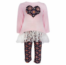 AnnLoren Girls Boutique Medallion Heart and Lace High Low Outift 12/18 mo -9/10