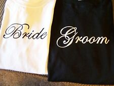 BRIDE AND GROOM T-SHIRTS! 2 NEW SHIRTS! GREAT GIFT IDEA!  SHOWN ON TV!