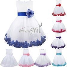 Petal Flower Girl Princess Wedding Formal Birthday Party Kid Bow Dress Size 2-14
