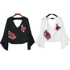 Casual V Neck Summer Short Embroidery Blouse Ruffle Chiffon Fashion New Blouse
