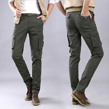 New Military Mens Slim Fit Skinny Pants Casual Cargo Overalls Pockets Trousers