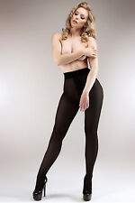 BLACK CROTCHLESS OPEN CROTCH GUSSET FREE SEXY 100 DENIER ITALIAN OPAQUE TIGHTS