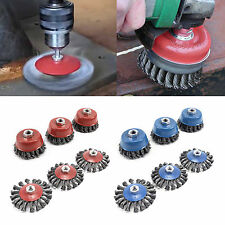 "3 Pcs M14 Crew Twist Knot Wire Wheel Cup Brush Set for 4.5"" 9"" Angle Grinder"