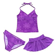 3PCS Swimwear Set Floral Tankini Bikini Push-up Halter Padded Top+Skirt+Bottom