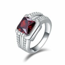 Men Fashion Anniversary Ring Red Garnet 18K Gold Filled Ring Gift Size 8,9,10,12