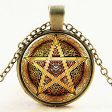Witchcraft Pentacle Wicca Pentagram Art Pendant Wiccan Pagan Necklace Chain