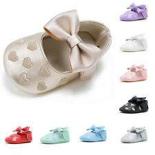 Newborn Kid Girl Baby Infant Toddler Bowknot Soft Sole Round Toe Prewalker Shoes