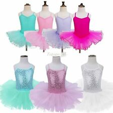Girl Gymnastics Ballet Dress Sequined Leotard Tutu Skirt Dance wear Costume 3-12