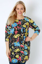 Yoursclothing Plus Size Womens Floral Paint Print Jersey Longline Top