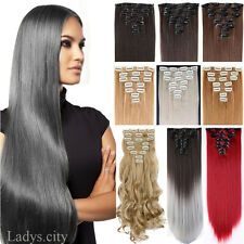 Real as remy human hair Long Clip in Hair Extensions Full Head Wavy Straight Tk5