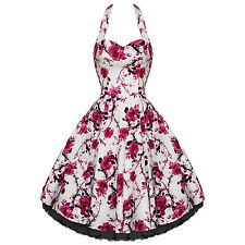 Hearts And Roses London White Pink Floral Vintage 50s Party Prom Summer Dress UK