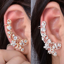 1pc Vintage Crystal Butterfly Flower Ear Cuff Wrap Pierced Clip On Right Earring