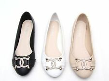 Womens Ladies Ballets Dolly Flats Shoes Ballerina Pumps Diamante Sparkly Size UK