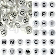 HOT 90pcs Acrylic Silver Alphabet Letter Beads A-Z Flat Round Jewelry 7x7x3mm