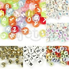 Wholesale 70pcs Acrylic Flat Round Alphabet Letter Beads Jewelry Making 7x7mm