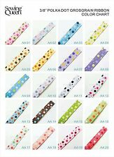 "3/8"" 5~100yds  Mulit Mix Princess Cute Polka Dot Grosgrain Ribbon"
