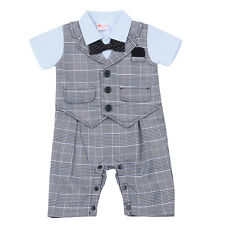 Infant Baby Boys Toddler Short Sleeves Plaid Romper Gentleman Formal Suit Outfit