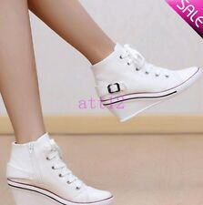 Womens Lace Up High Top High Wedge Heel Platform Casual Sneakers Canvas Shoes