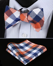 BMC303N Orange Blue Check Men Cotton Self Bow Tie Pocket Square set