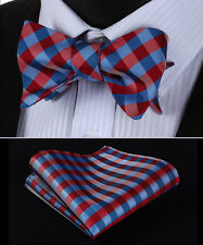 BC3014U Red Blue Check Men Silk Classic Self Bow Tie Pocket Square set