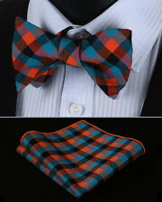 BMC202N Orange Blue Check Men Cotton Self Bow Tie Pocket Square set
