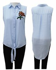 Ladies Womens Tie Front Collared Blouse Rose Embroidered Sleeveless Top
