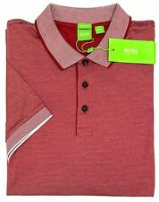 NWT $125 Hugo Boss Modern Red Stripe Polo Shirt C-Janis Mens M L Short Sleeve