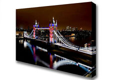 Lights London Tower Bridge Reflections Large City Canvas XL (B1 26x40inch) 02017