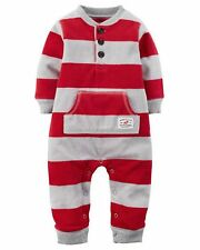 NWT CARTER'S BOY'S INFANT RED/GRAY STRIPED HENLEY FLEECE JUMPSUIT SIZES: 3M & 6M