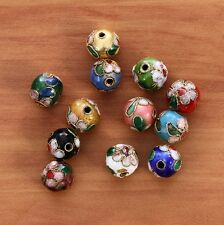 10mm Mixed-color Chinese Enamel Cloisonne Metal Round Craft Beads