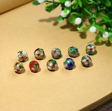 8mm Mixed-color Chinese Enamel Cloisonne Metal Round Craft Beads