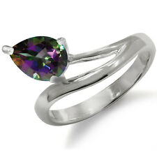 1.27ct. Mystic Fire Topaz 925 Sterling Silver Solitaire Ring