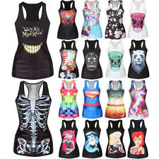 Womens Printed Summer Camisole Vest Tank Tops Gothic Shirt Blouse Casual T shirt
