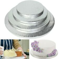 Silver Round Cake Thick Drum Board Stand Holder Strong Base For Wedding Birthday