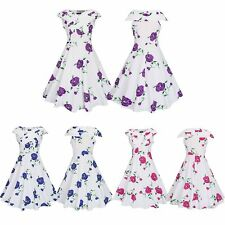 Elegant Women 50S 60S Rockabilly Swing Dress Floral Pinup PartyVintage Housewife