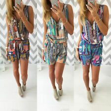 Women Holiday Mini Playsuit Ladies Sleeveless Jumpsuit Summer Beach Shorts Dress